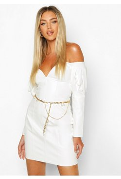 Gold metallic Chain & Pearl Waist Belt