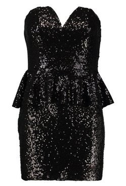 Black Sequin Peplum Mini Dress