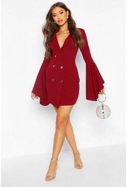 Berry red Flared Sleeve Blazer Dress