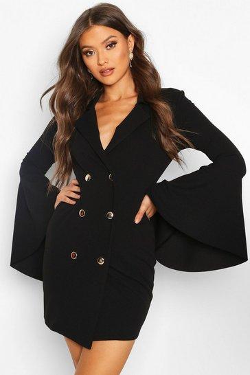 Black Flared Sleeve Blazer Dress