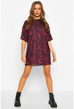 Tan Snake Print T-Shirt Dress