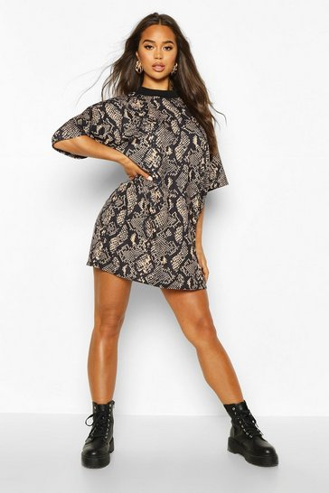 Tan brown Snake Print T-Shirt Dress