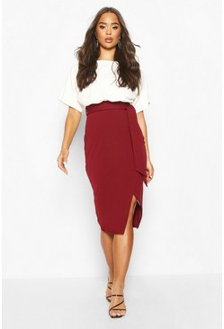 Berry red Batwing Colour Block Midi Dress