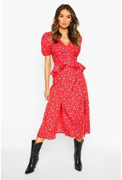 Blue Floral Split Front Button Midi Dress