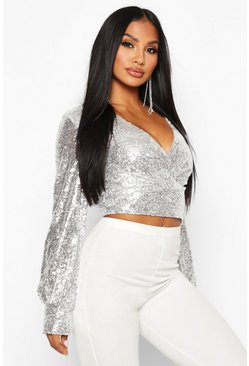 Silver Sequin Wrap Balloon Sleeve Crop