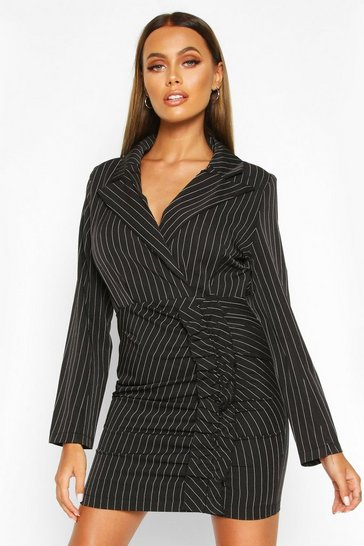 Black Pinstripe Ruffle Side Blazer Dress