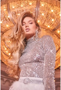 Silver Sequin High Neck Long Sleeved Top