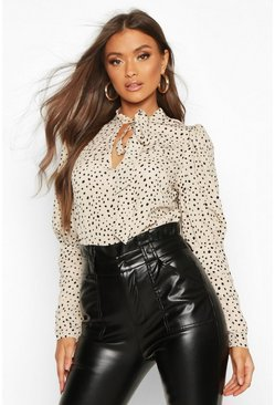 White Spot Print Puff Sleeve Blouse