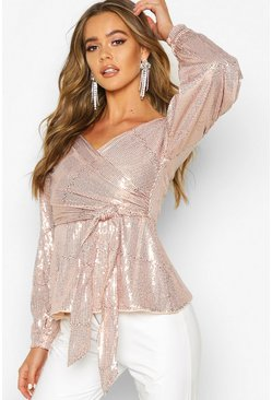 Rose gold metallic Sequin Tie Waist Over The Shoulder Top