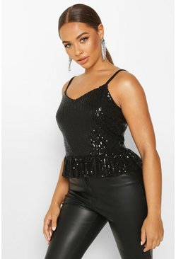 Black Sequin Peplum Cami