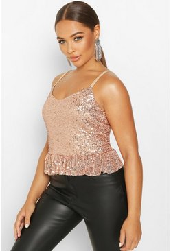 Gold metallic Sequin Peplum Cami Top BLACK-8