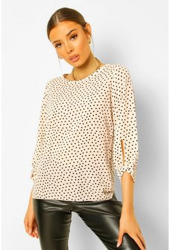 Natural beige Geweven blouse met strikmouwen en polkadots
