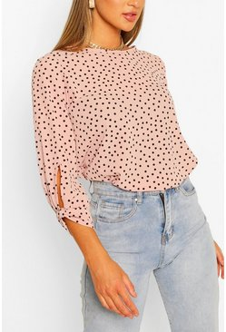 Nude Polka Dot Bow Sleeve Woven Blouse