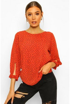 Orange Polka Dot Bow Sleeve Woven Blouse