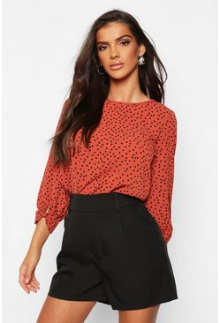 Rust orange Polka Dot Bow Sleeve Woven Blouse