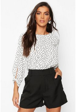 Sage white Polka Dot Bow Sleeve Woven Blouse
