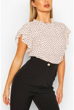 Blush pink Polka Dot Frill Sleeve Woven Blouse
