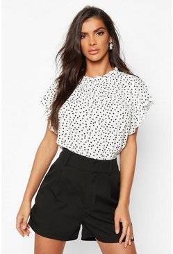 Ivory white Polka Dot Frill Sleeve Woven Blouse