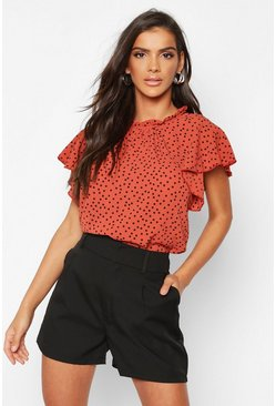 Rust orange Polka Dot Frill Sleeve Woven Blouse