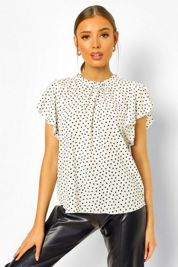White Polka Dot Frill Sleeve Woven Blouse