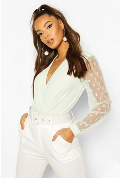 Sage green Polka Dot Mesh Sleeve Bodysuit