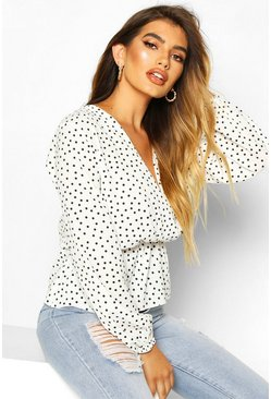 Ivory white Polka Dot Wrap Peplum Blouse