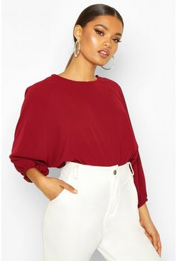Berry Batwing Sleeve Blouse