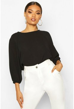 Black Batwing Sleeve Blouse