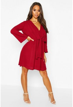Berry red Knot Front Woven Wrap Dress