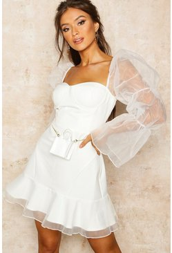 Ivory white Organza Sleeve Corset Detail Frill Dress
