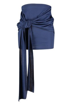 Navy Knot Front Drape Mini Skirt