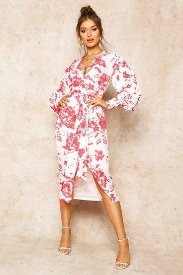 Red Floral Print Plunge Tie Waist Midi Dress