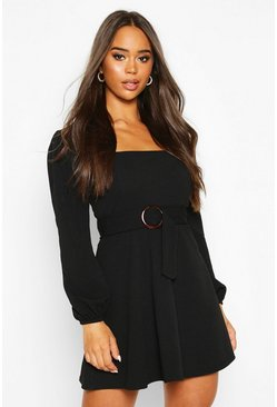 Black Square Neck O-Ring Buckle Skater Dress