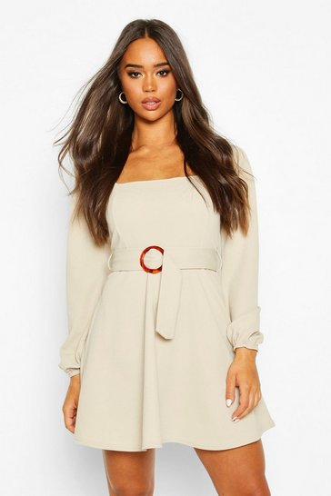 Stone beige Square Neck O-Ring Buckle Skater Dress
