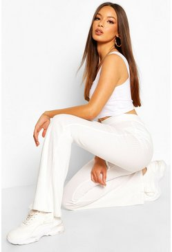 Ecru white Soft Ribbed Flare Trouser