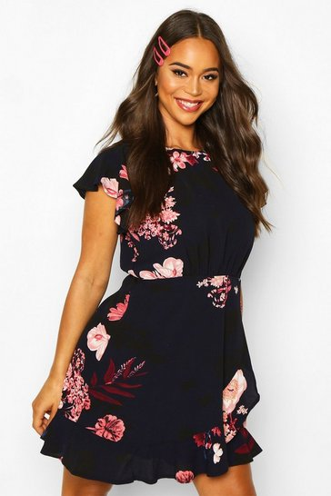 Black Floral Woven Round Neck Dress