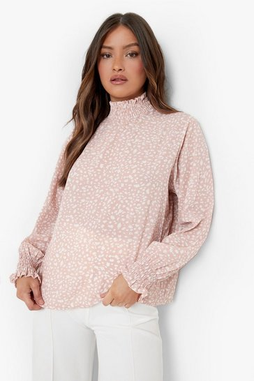 Blush pink Nude Smudge Print High Neck Sheered Blouse