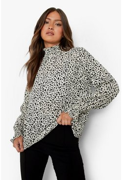 Cream white Smudge Print High Neck Sheered Blouse