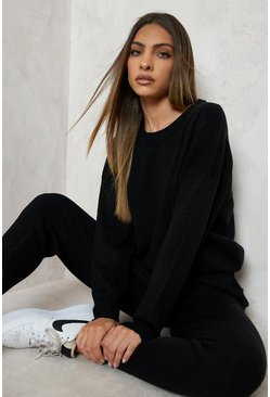 Black Knitted Sweater & Jogger Co-Ord
