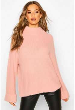 Antique rose pink Turn Up Cuff High Neck Fluffy Sweater