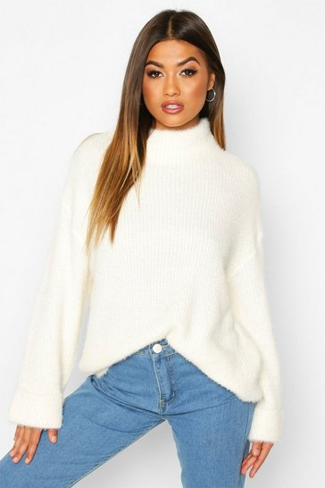 Cream white Turn Up Cuff High Neck Fluffy Jumper