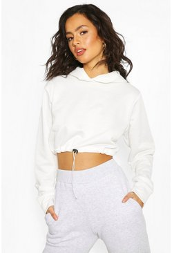 White Drawcord Cropped Hoodie