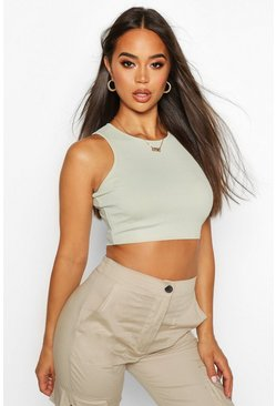 Sage Ribbad crop top i brottarmodell