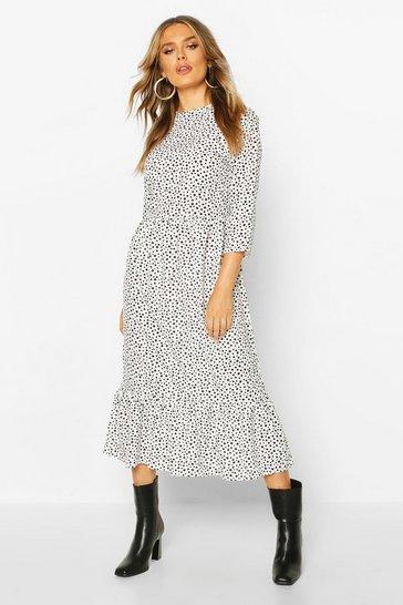 White Woven Mixed Polka Dot Dress