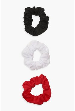 Red 3 Pack Scrunchies