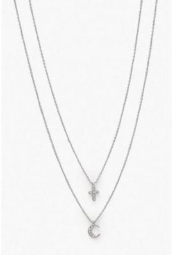 Silver Diamante Cross & Moon Necklace Pack