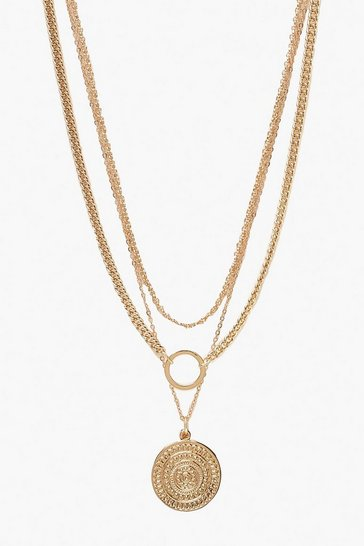 Gold metallic O-Ring & Coin Chain Necklace