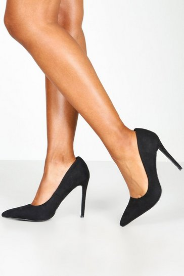 Black Basic Stiletto Heel Court Shoes