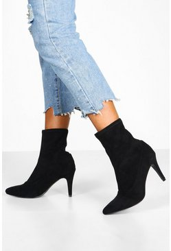 Black Basic Stiletto Heel Sock Boots