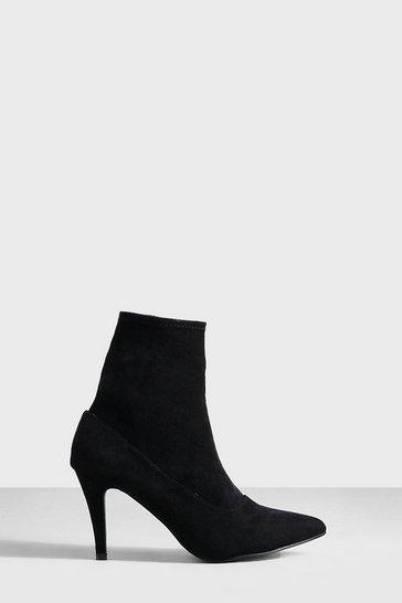 Black Basic Stiletto Heel Sock Boots